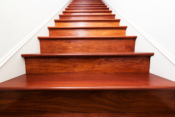 Hardwood Mahogany Stained Stairs