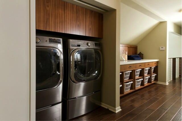 Laundry cabinets above