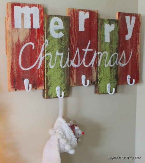 scrap wood wall stocking art