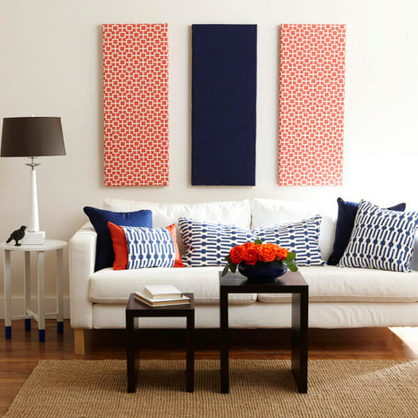 Patterned-navy-blue-and-red-fabric-panel-wall-art