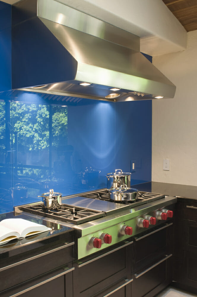 Blue Kitchen Backsplash and Vent Hood