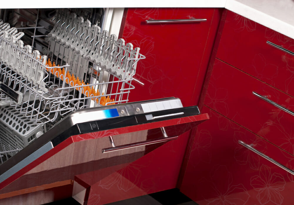 Red modern dishwasher
