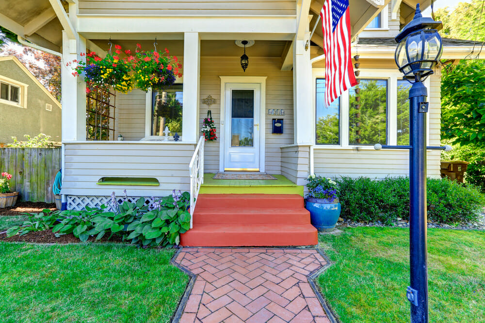 American flag porch