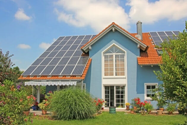blue house solar panels