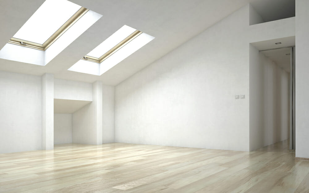 skylight in an empty room