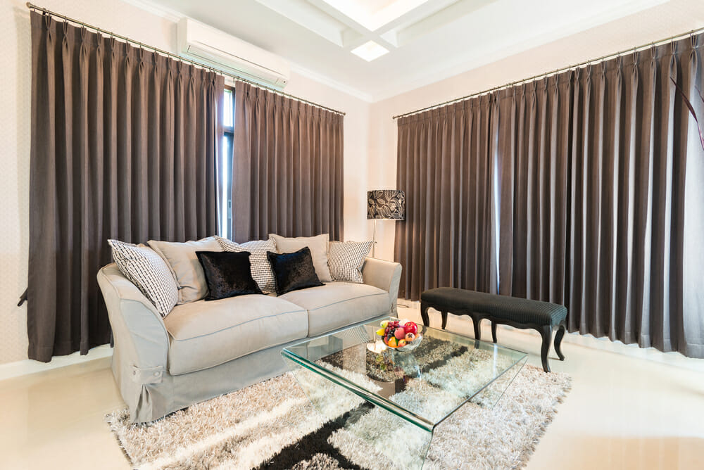 Modern Living Room with Heavy Drapes