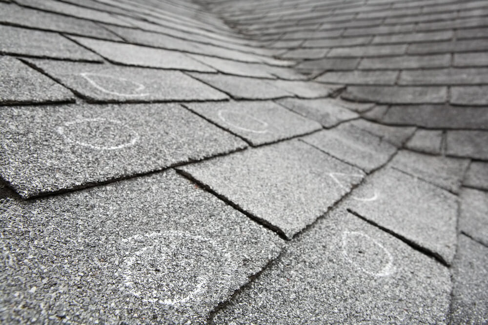 asphalt roof hail damage