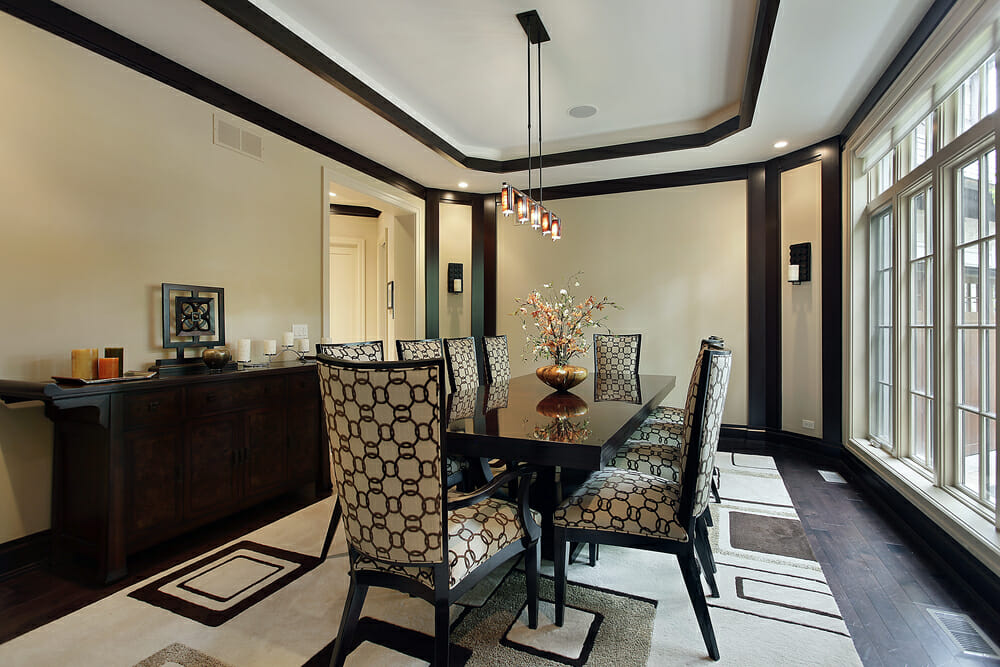 Tray ceiling design in living room