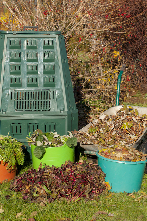 Compost,compost bin in a autumn garden.