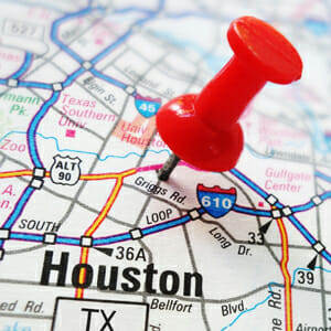 Closeup of a Houston, Texas map with red pin