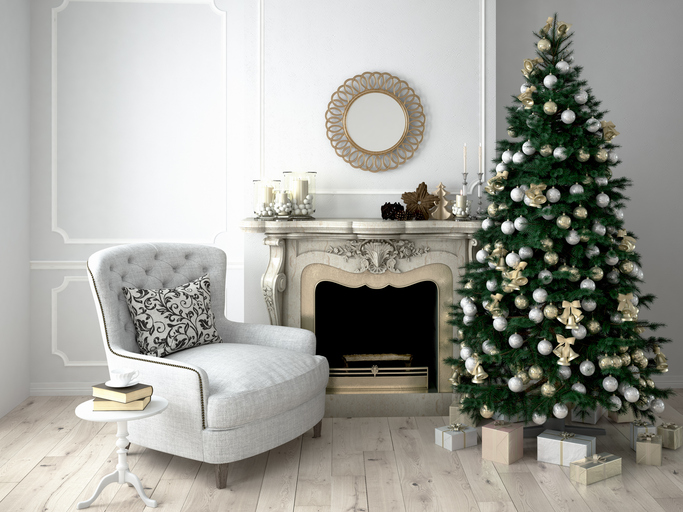 Christmas living room with a tree and fireplace. 3d rendering