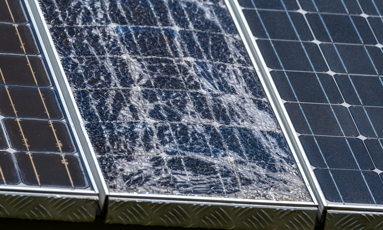 Large view on destroyed modern solar panels