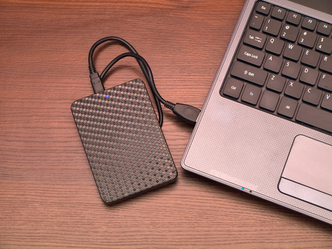 portable hard drive and laptop computer