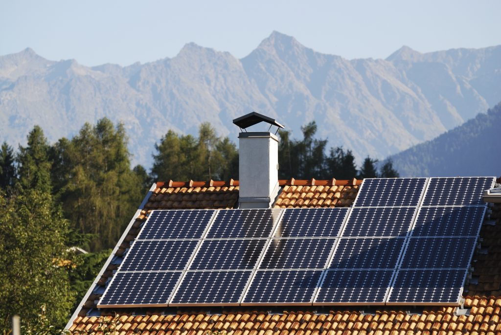 solar panels on mountainous home