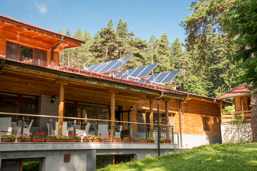 solar panels on rural home