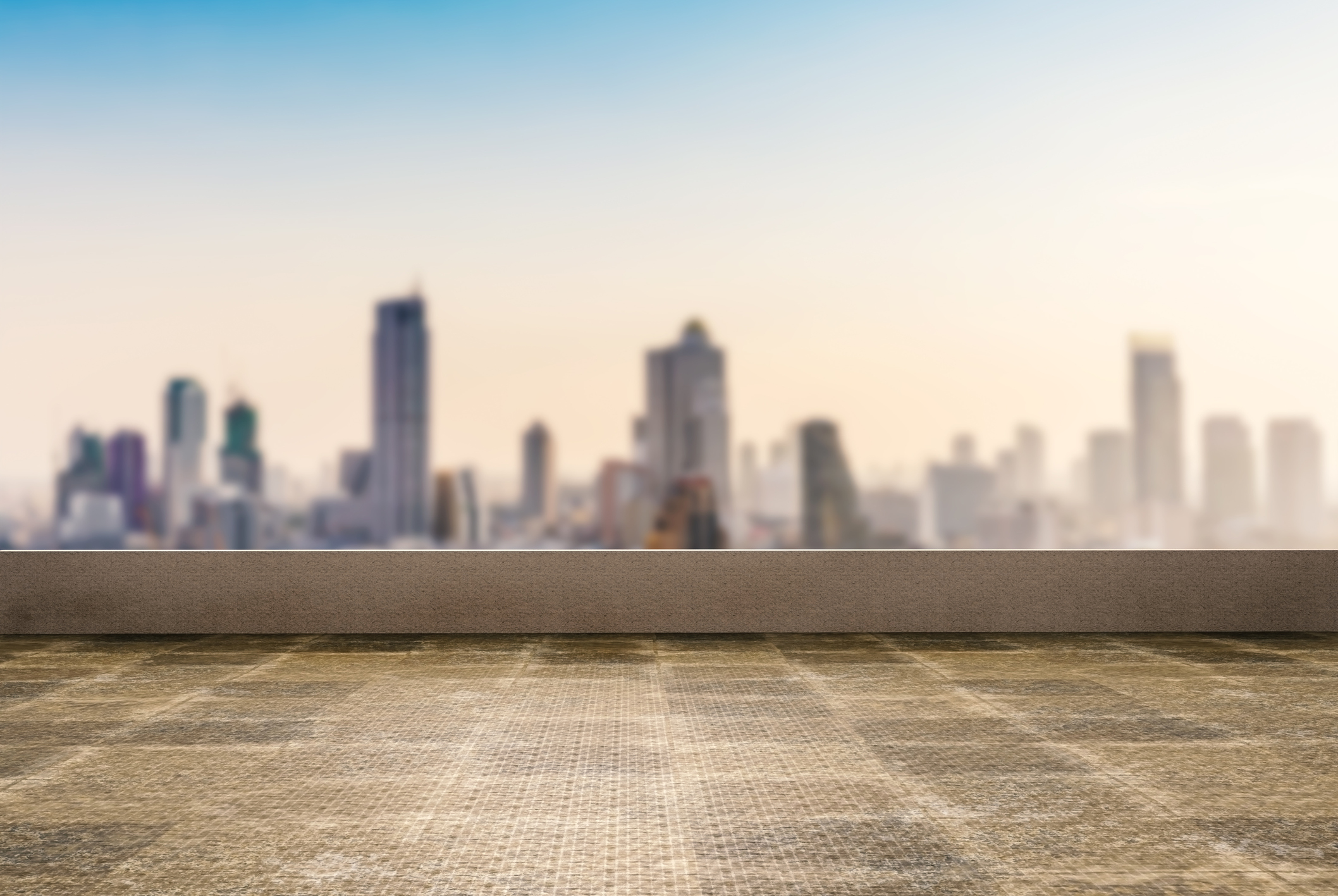 flat roof with a cityscape
