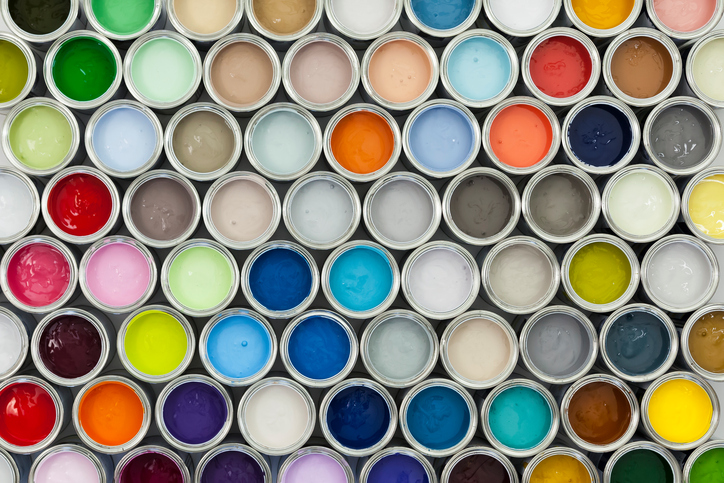 A variety of paint can samples arranged on a grid.