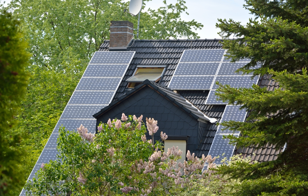 solar panels on woodsy home