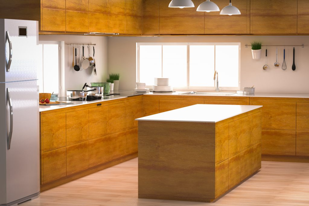 3d rendering kitchen interior with empty counter