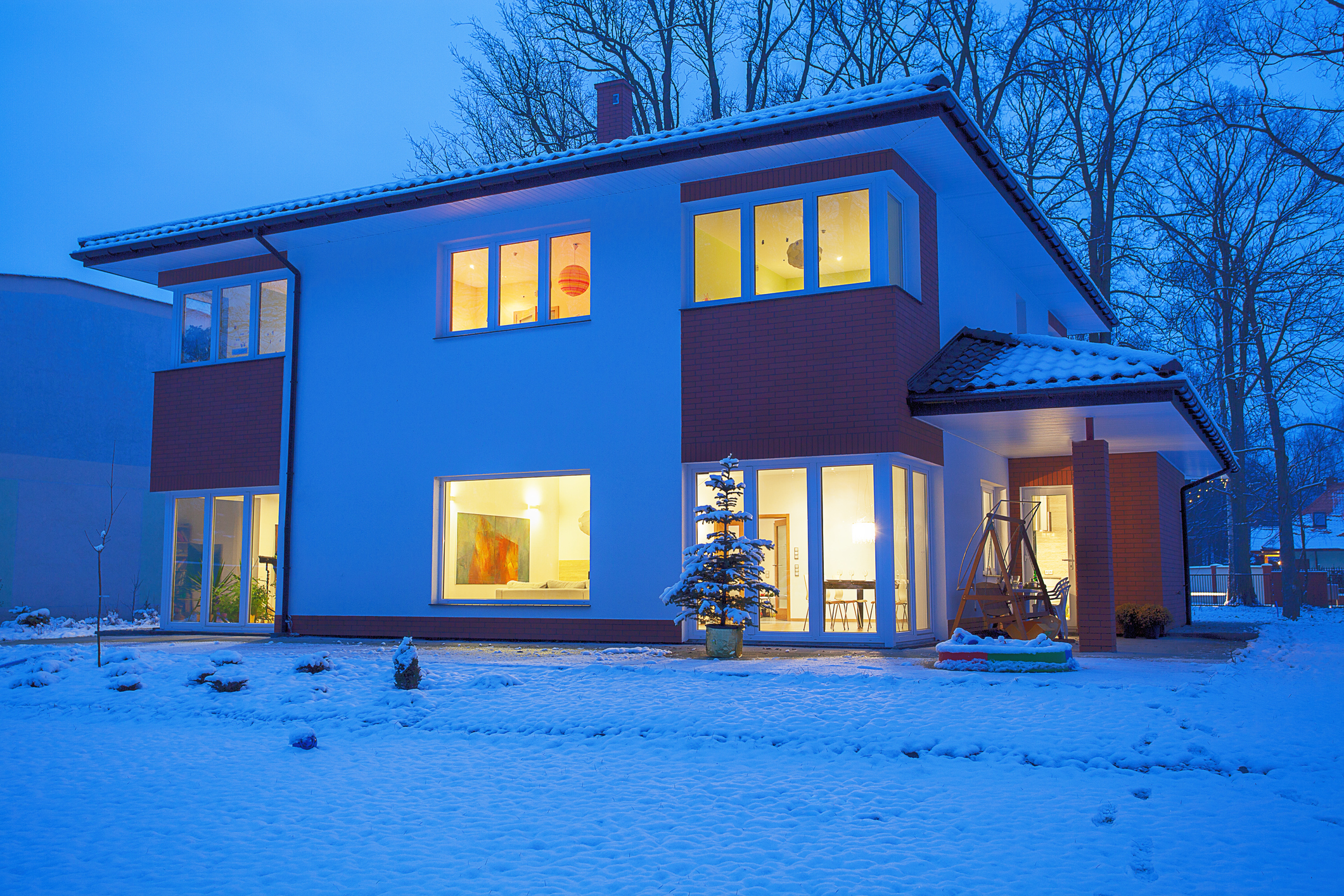 Snowy Flat Roof Home