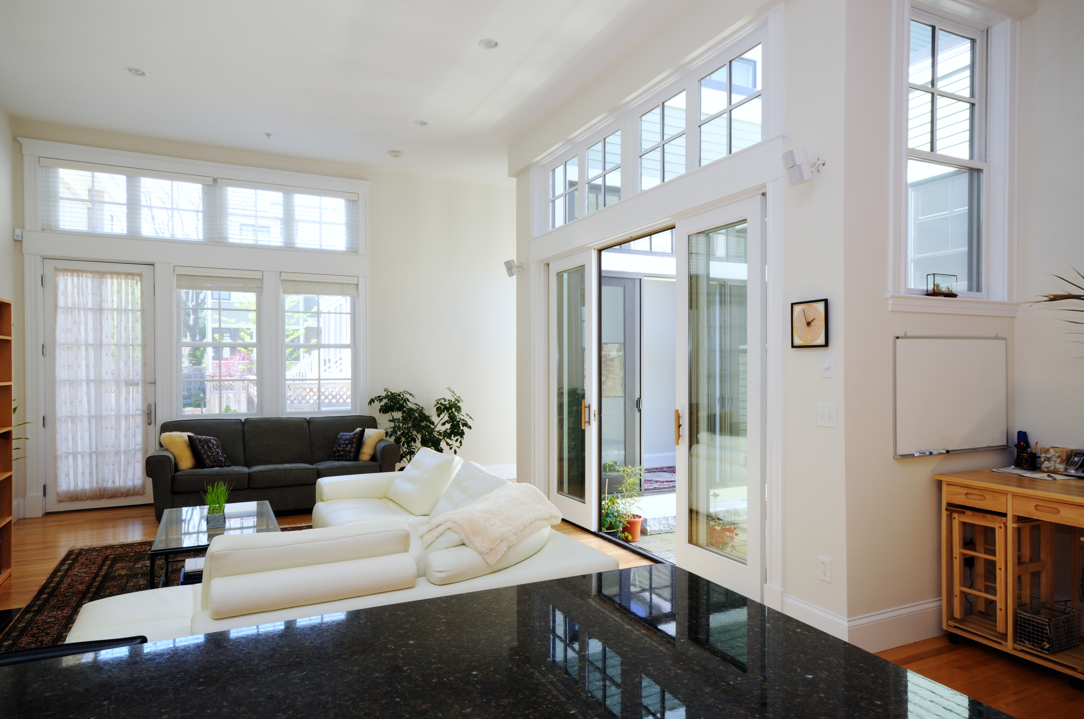 Open plan home with glass doors