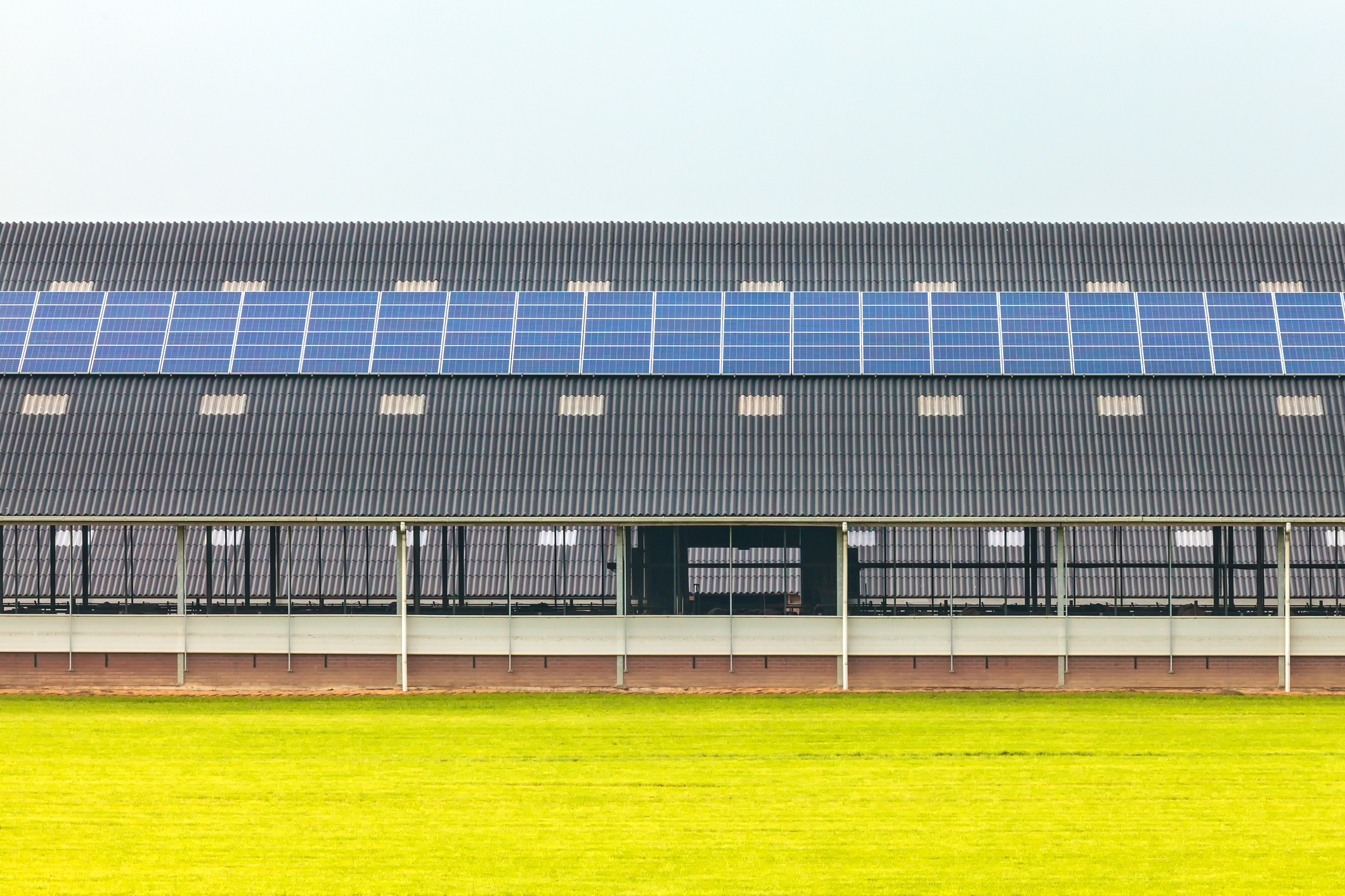 Solar panels on a new farm barn