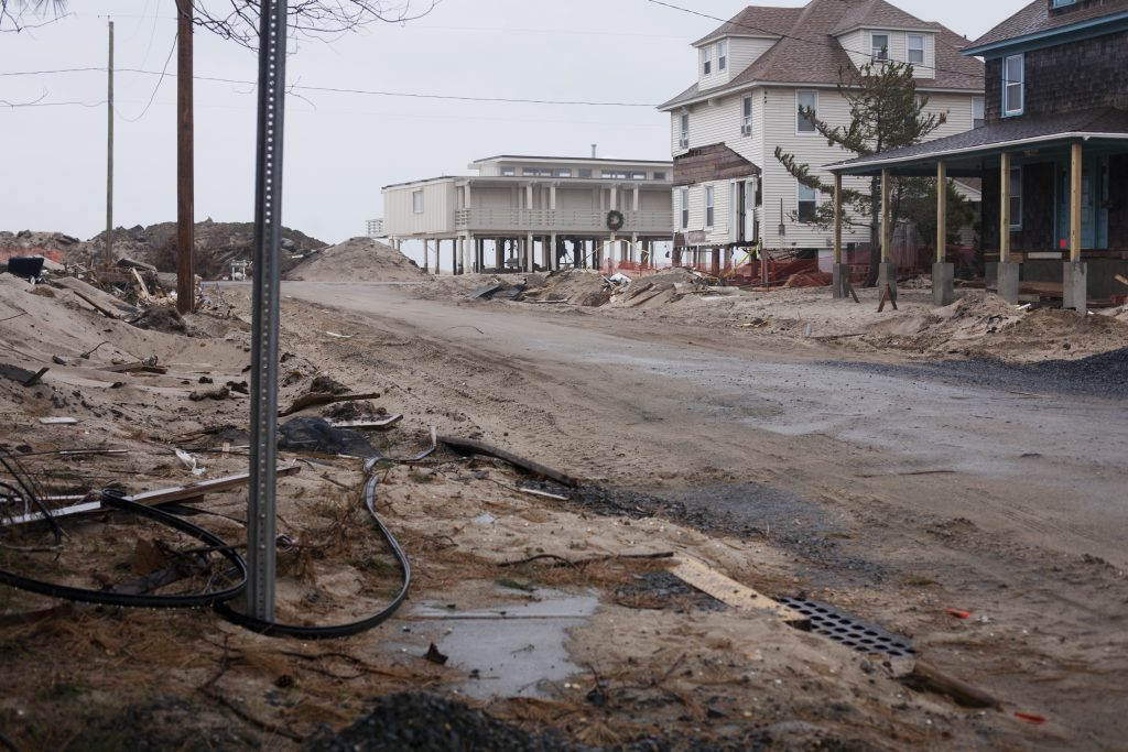 A street in Bay Head, NJ after Hurricane Sandy