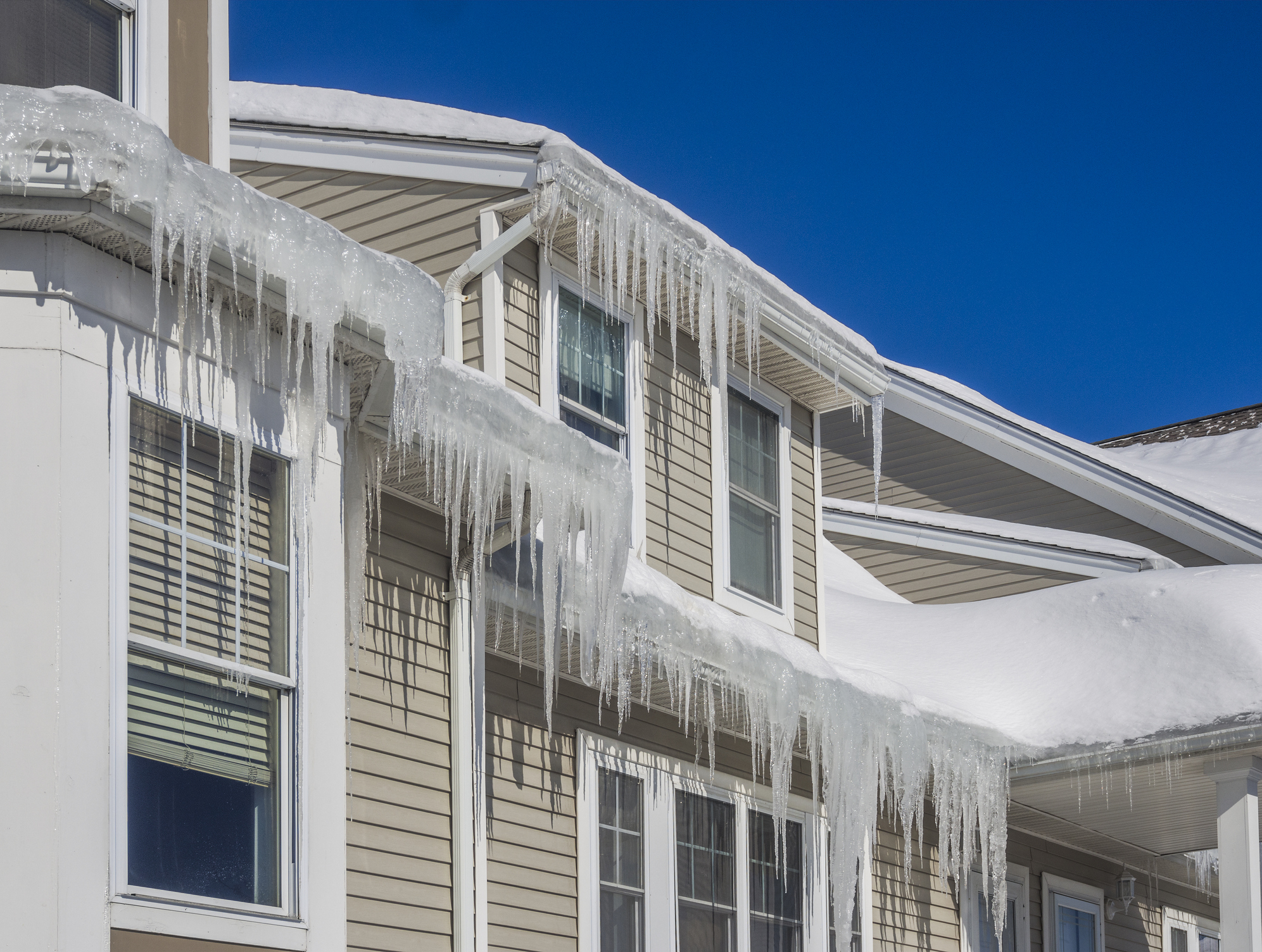Ice dams on large home