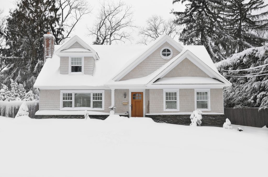 snowy craftsman house