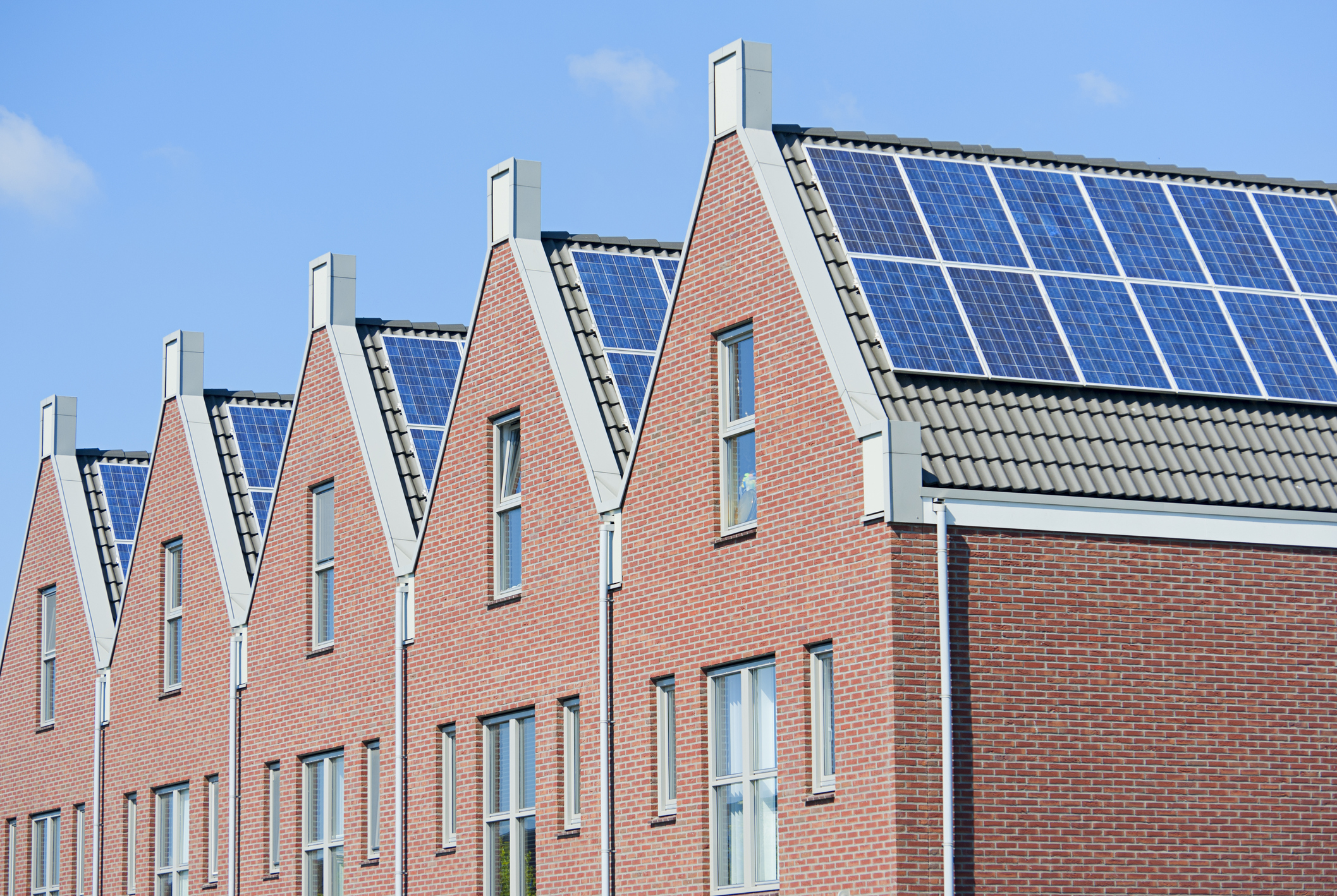 row houses with solar panels
