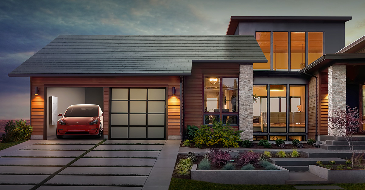 Home with Tesla roof