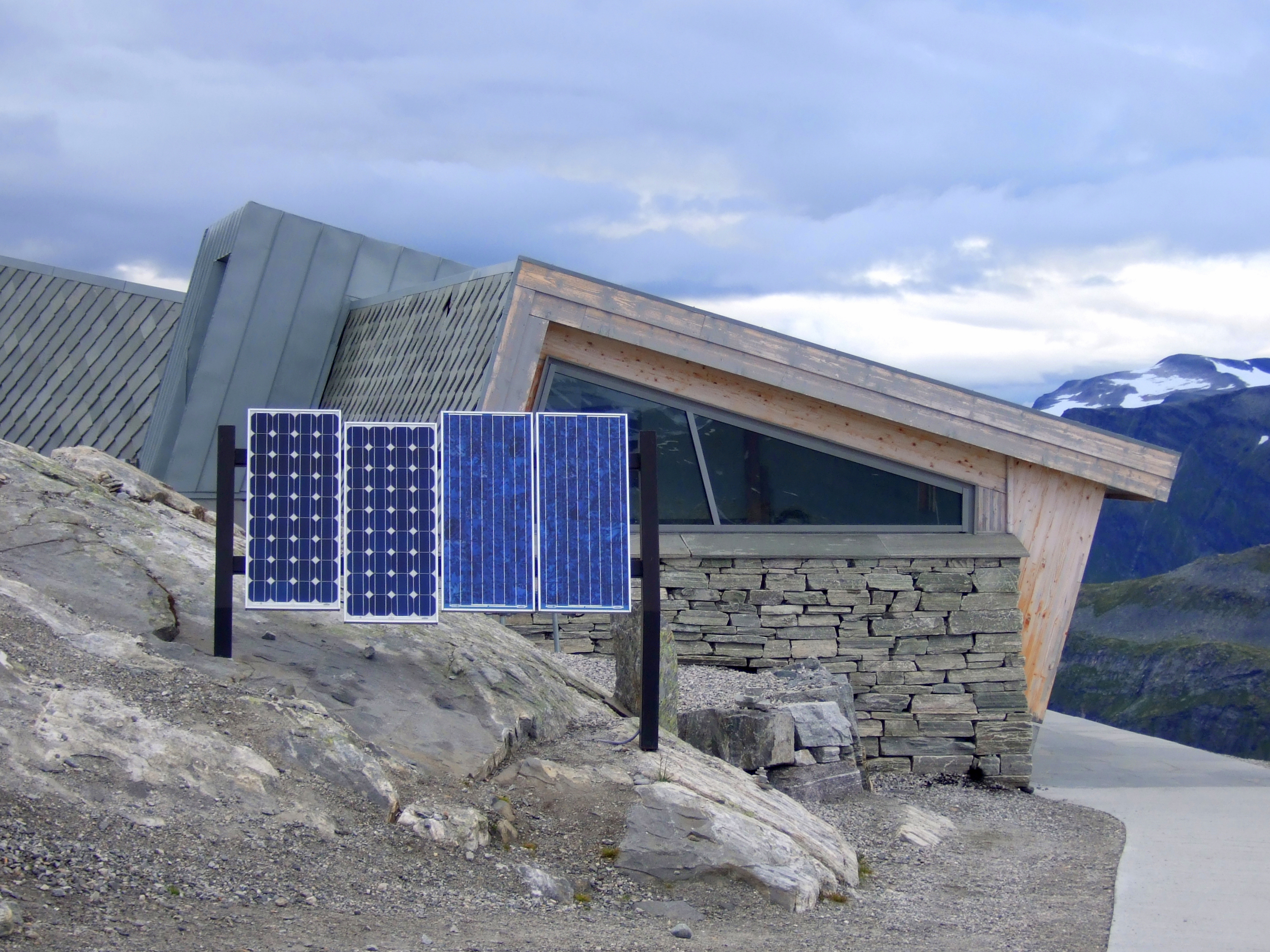 Solar panels on mountain peak