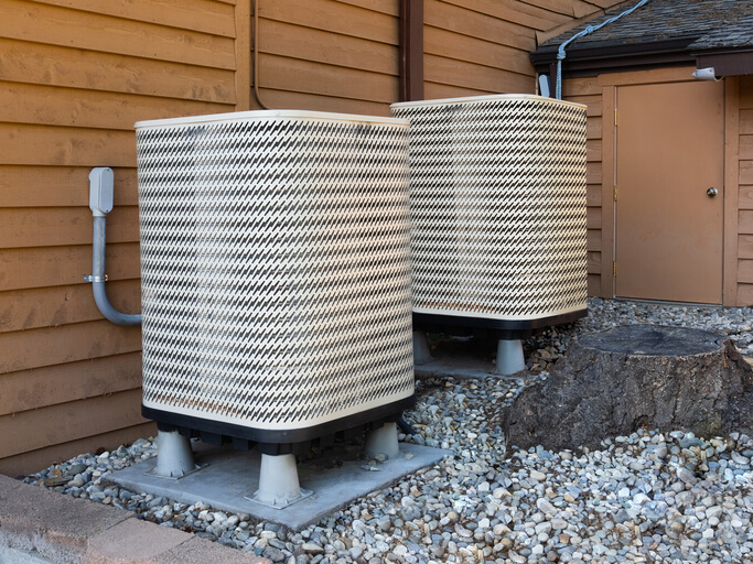 Air conditioning outside unit in backyard